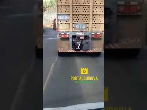 Jovens são flagrados em rabeira de caminhão na PR-160 entre Curiúva e Telêmaco Borba